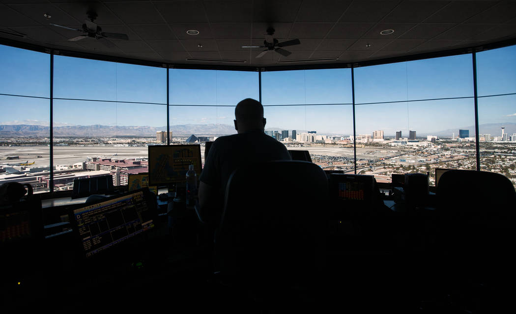 In this Oct. 17, 2016 file photo, an air traffic controller monitors airline traffic at the FAA Tower at McCarran International Airport. (Jeff Scheid/Las Vegas Review-Journal) Follow @jeffscheid