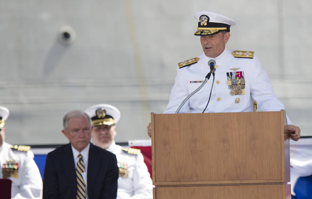 Adm. William Moran speaks during the Commissioning of the USS Montgomery in Mobile, Ala., in 2016.  (Albert Cesare/The Montgomery Advertiser via AP, File)