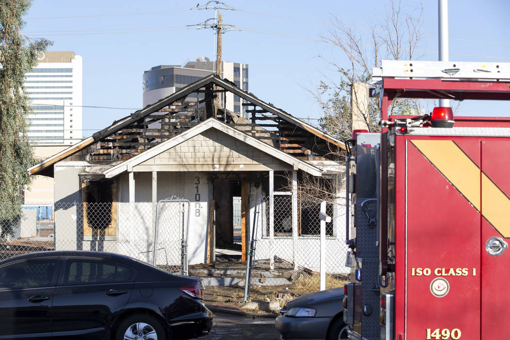 A fire damaged a vacant house on 8th Street near Stewart Avenue in downtown Las Vegas on Friday, Aug. 18, 2017. (Richard Brian/Las Vegas Review-Journal) @vegasphotograph