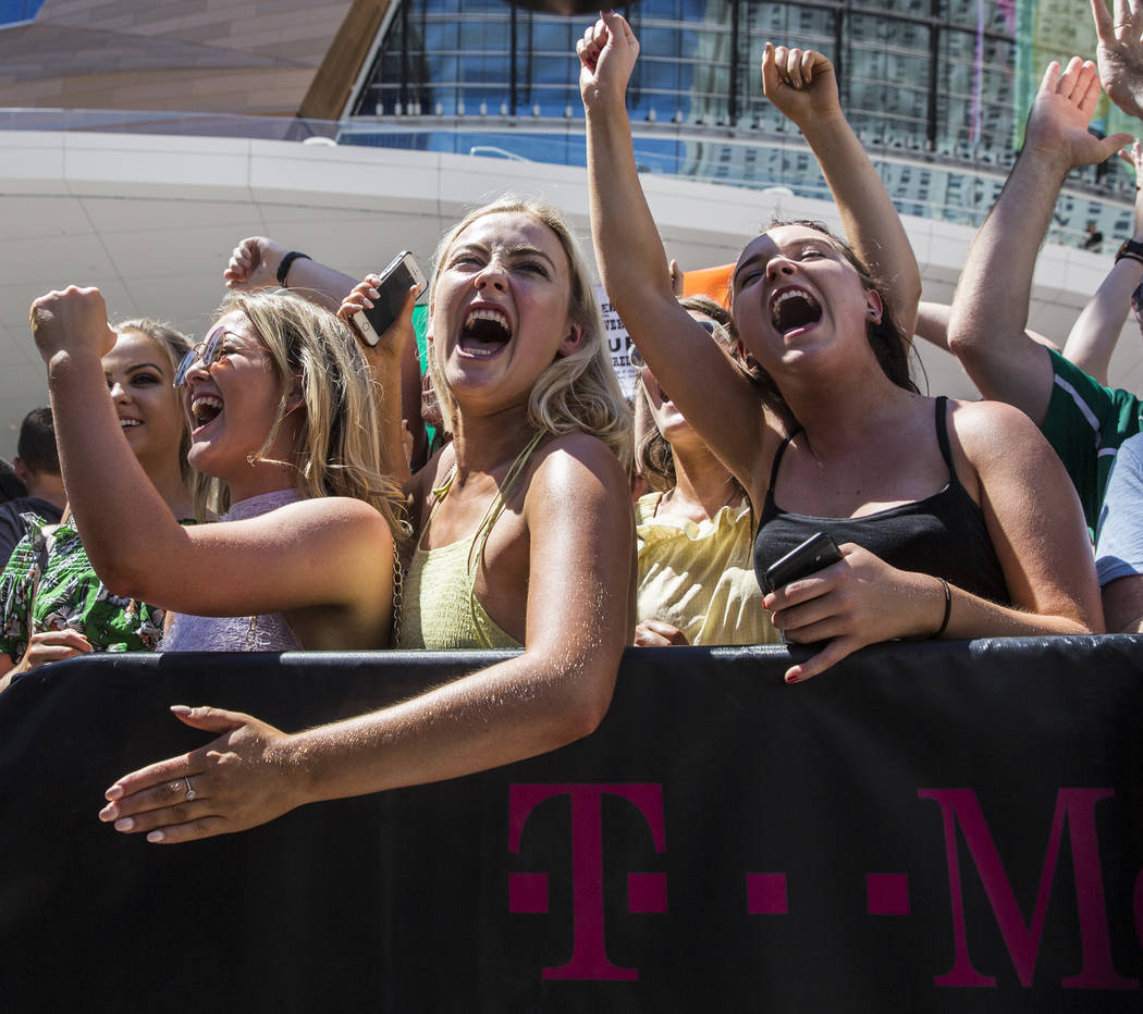 Fans of Conor McGregor cheer during the arrival of the Irish MMA star at Toshiba Plaza outside T-Mobile Arena on Tuesday, Aug 22, 2017, in Las Vegas. Benjamin Hager Las Vegas Review-Journal @benja ...