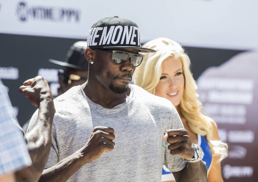 Undefeated cruiserweight Andrew Tabiti pumps up fans  at Toshiba Plaza in advance of his Saturday night fight with Steve Cunningham on Tuesday, Aug 22, 2017, outside T-Mobile Arena, in Las Vegas.  ...