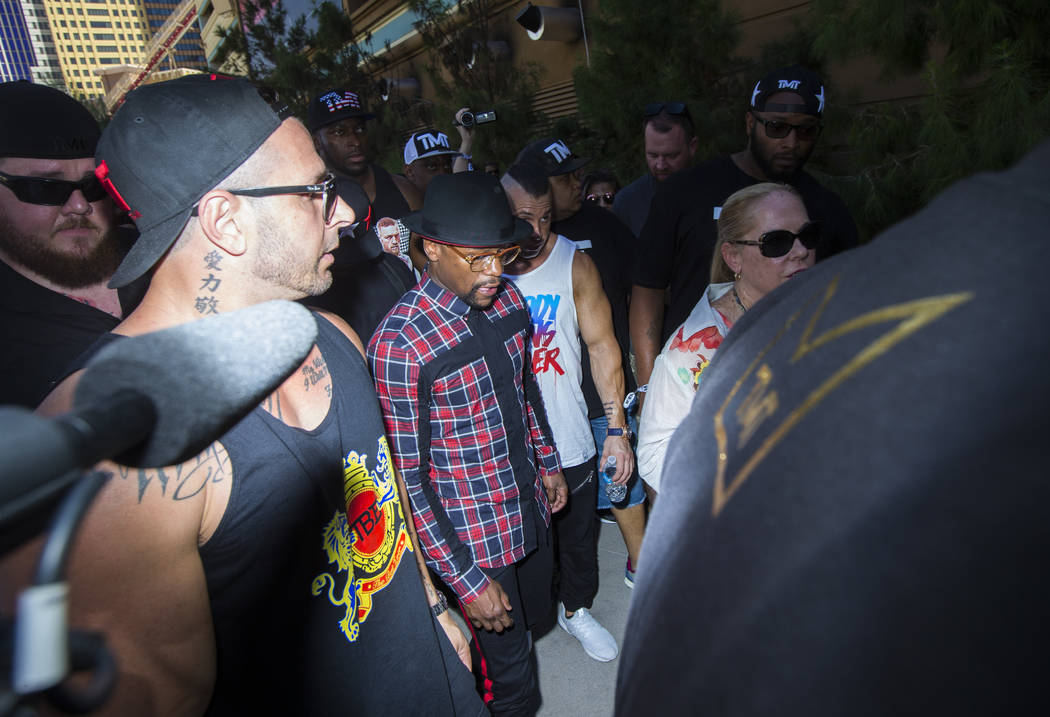 Floyd Mayweather Jr. arrives at Toshiba Plaza outside of the T-Mobile Arena, ahead of his fight against Conor McGregor, in Las Vegas on Tuesday, Aug. 22, 2017. Chase Stevens Las Vegas Review-Journ ...