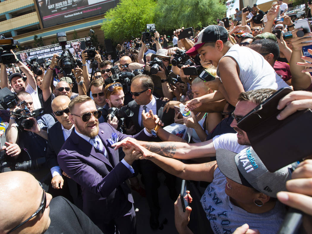 Conor McGregor arrives at Toshiba Plaza outside of the T-Mobile Arena, ahead of his fight against Floyd Mayweather Jr., in Las Vegas on Tuesday, Aug. 22, 2017. Chase Stevens Las Vegas Review-Journ ...
