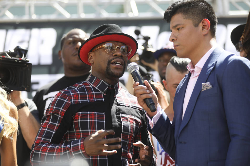 Floyd Mayweather Jr. at Toshiba Plaza outside of the T-Mobile Arena, ahead of his fight against Conor McGregor, in Las Vegas on Tuesday, Aug. 22, 2017. Chase Stevens Las Vegas Review-Journal @csst ...