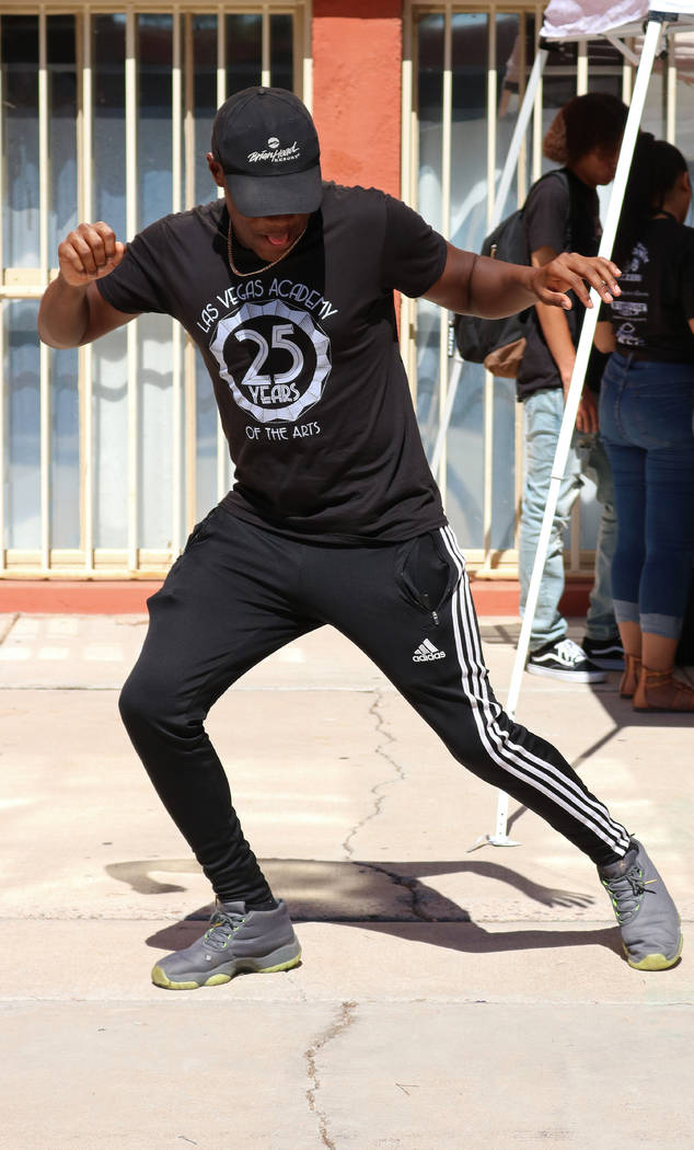 Las Vegas Academy student Rahee Henderson, 17, busts a move at lunch during the school's 25th anniversary day, Friday, Aug. 18, 2017. Gabriella Benavidez Las Vegas Review-Journal @latina_ish