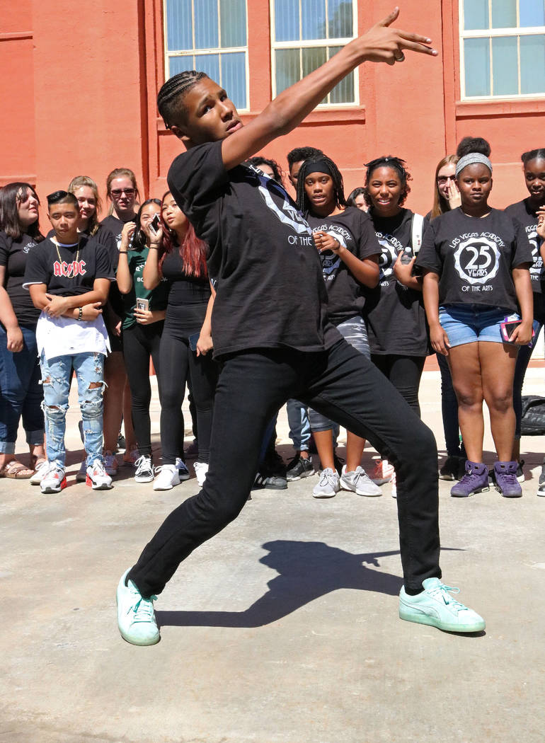 Las Vegas Academy student Amari Smith, 14, busts a move at lunch during the school's 25th anniversary day, Friday, Aug. 18, 2017. Gabriella Benavidez Las Vegas Review-Journal @latina_ish