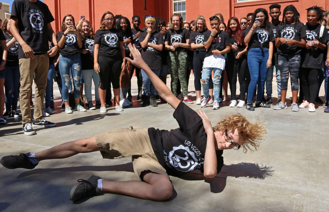Las Vegas Academy student David Shay, 16, shows off his final dance move at lunch during the school's 25th anniversary day, Friday, Aug. 18, 2017. Gabriella Benavidez Las Vegas Review-Journal @lat ...