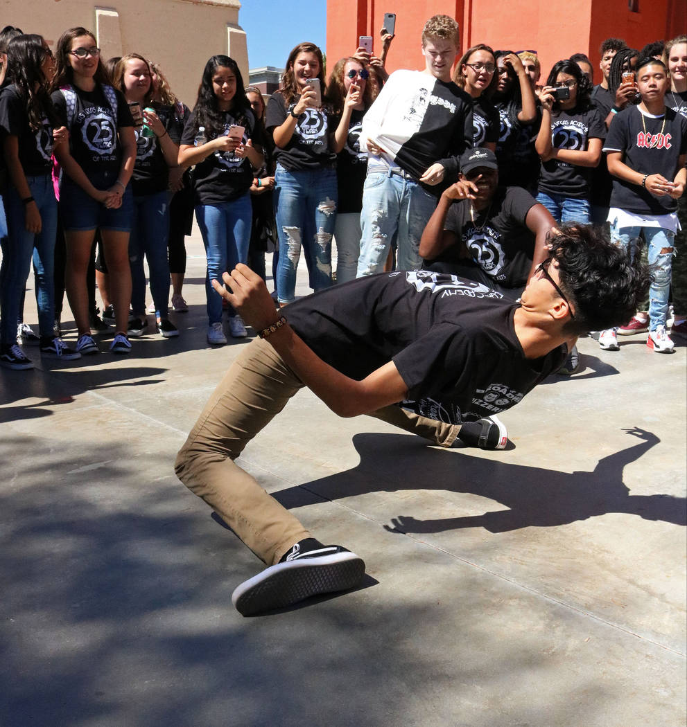 Las Vegas Academy student Ryan Crouch, 17, busts a move at lunch during the school's 25th anniversary day, Friday, Aug. 18, 2017. Gabriella Benavidez Las Vegas Review-Journal @latina_ish
