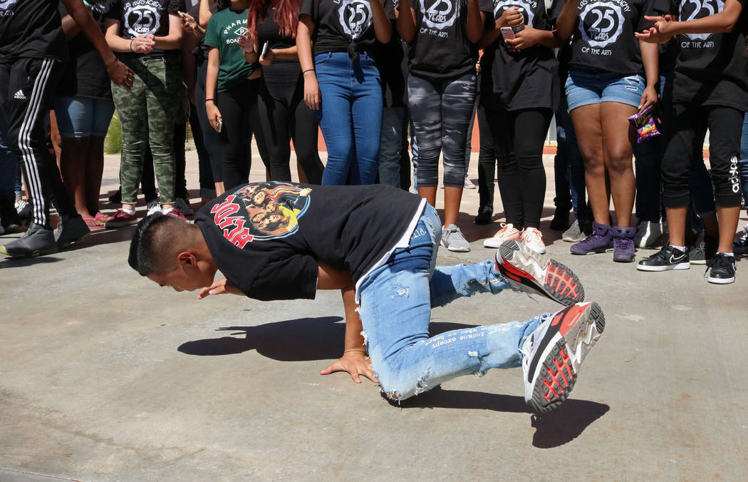 Las Vegas Academy student Bailey Munoz, 17, breakdances at lunch during the school's 25th anniversary day, Friday, Aug. 18, 2017. Gabriella Benavidez Las Vegas Review-Journal @latina_ish