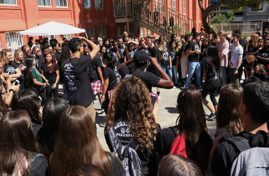 Las Vegas Academy students forming a dance circle as their classmates dance to music at lunch during the school's 25th anniversary day, Friday, Aug. 18, 2017. Gabriella Benavidez Las Vegas Review- ...
