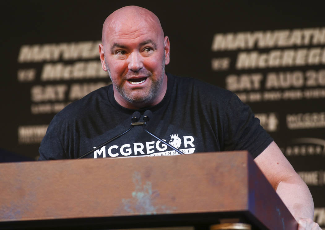 UFC President Dana White during the final press conference ahead of the fight featuring Floyd Mayweather Jr. and Conor McGregor, slated for Aug. 26 at the T-Mobile Arena, at the Ka Theatre at the  ...