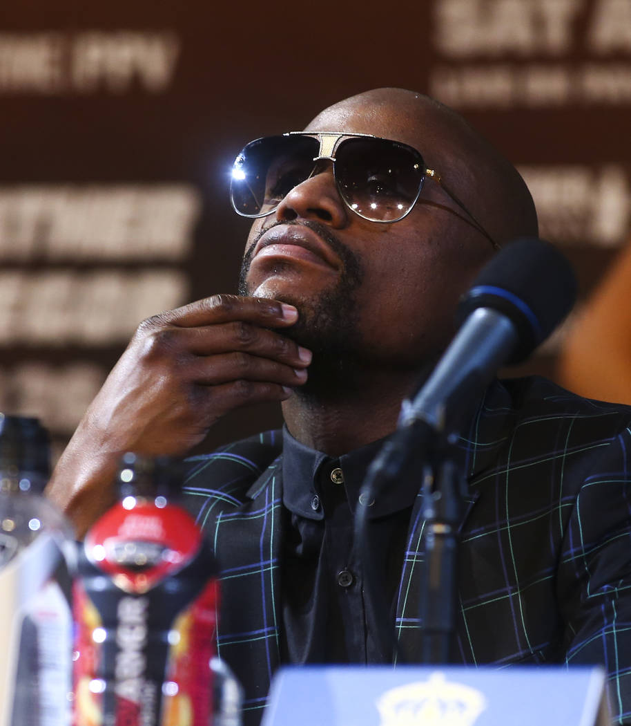 Floyd Mayweather Jr. during the final press conference ahead of his fight against Conor McGregor, slated for Aug. 26 at the T-Mobile Arena, at the Ka Theatre at the MGM Grand in Las Vegas on Wedne ...