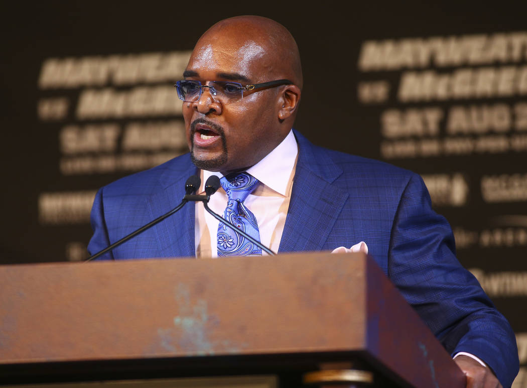 Mayweather Promotions CEO Leonard Ellerbe during the final press conference ahead of the fight featuring Floyd Mayweather Jr. and Conor McGregor, slated for Aug. 26 at the T-Mobile Arena, at the K ...