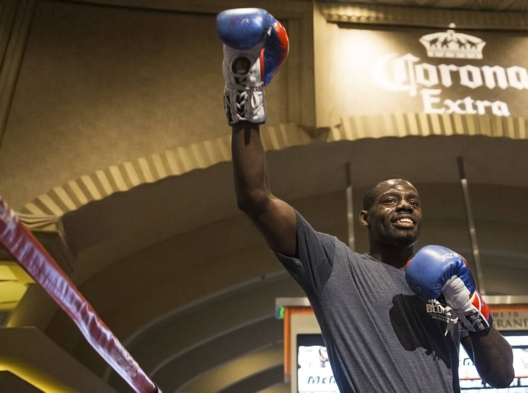 Undefeated cruiserweight Andrew Tabiti warms up during open workouts on Wednesday, Aug 23, 2017, at the MGM Grand casino-hotel, in Las Vegas. Benjamin Hager Las Vegas Review-Journal @benjaminhphoto