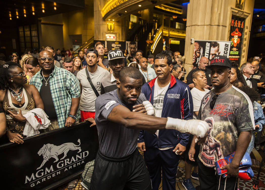 Undefeated cruiserweight Andrew Tabiti warms up before open workouts on Wednesday, Aug 23, 2017, at the MGM Grand casino-hotel, in Las Vegas. Benjamin Hager Las Vegas Review-Journal @benjaminhphoto