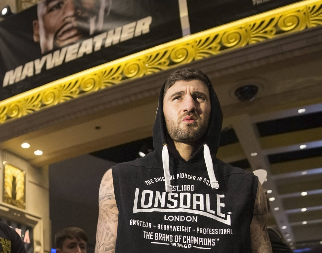 Light heavyweight boxer Nathan Cleverly watches open workouts on Wednesday, Aug 23, 2017, at the MGM Grand casino-hotel, in Las Vegas. Benjamin Hager Las Vegas Review-Journal @benjaminhphoto