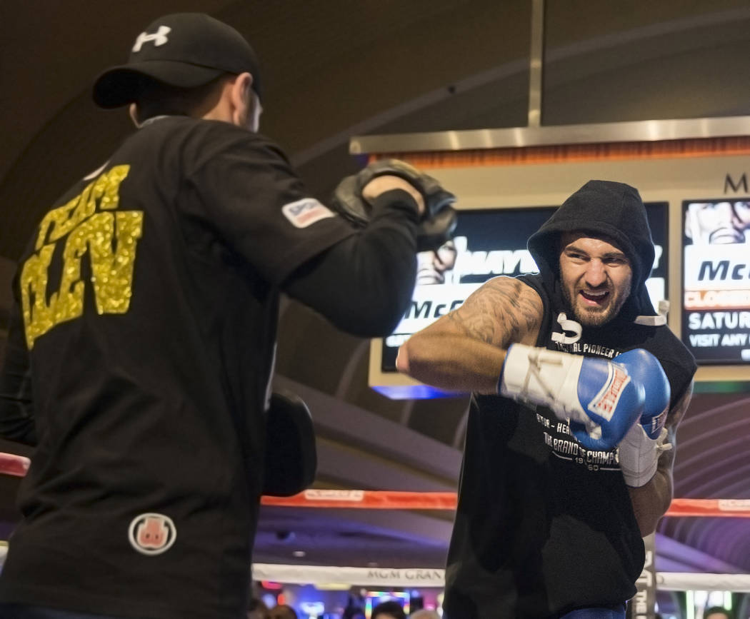 Light heavyweight boxer Nathan Cleverly, right, warms up during open workouts on Wednesday, Aug 23, 2017, at the MGM Grand casino-hotel, in Las Vegas. Benjamin Hager Las Vegas Review-Journal @benj ...