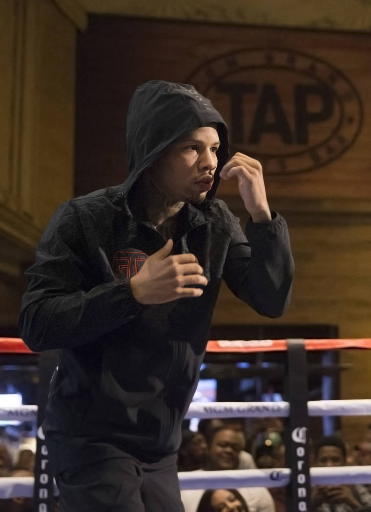 Gervonta Davis warms up during open workouts on Wednesday, Aug 23, 2017, at the MGM Grand casino-hotel, in Las Vegas. Benjamin Hager Las Vegas Review-Journal @benjaminhphoto