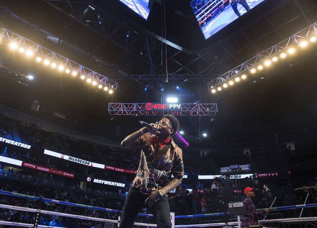 YG performs during weigh-ins for Saturday's Mayweather McGregor fight on Friday, Aug 25, 2017, at T-Mobile Arena, in Las Vegas. Benjamin Hager Las Vegas Review-Journal @benjaminhphoto