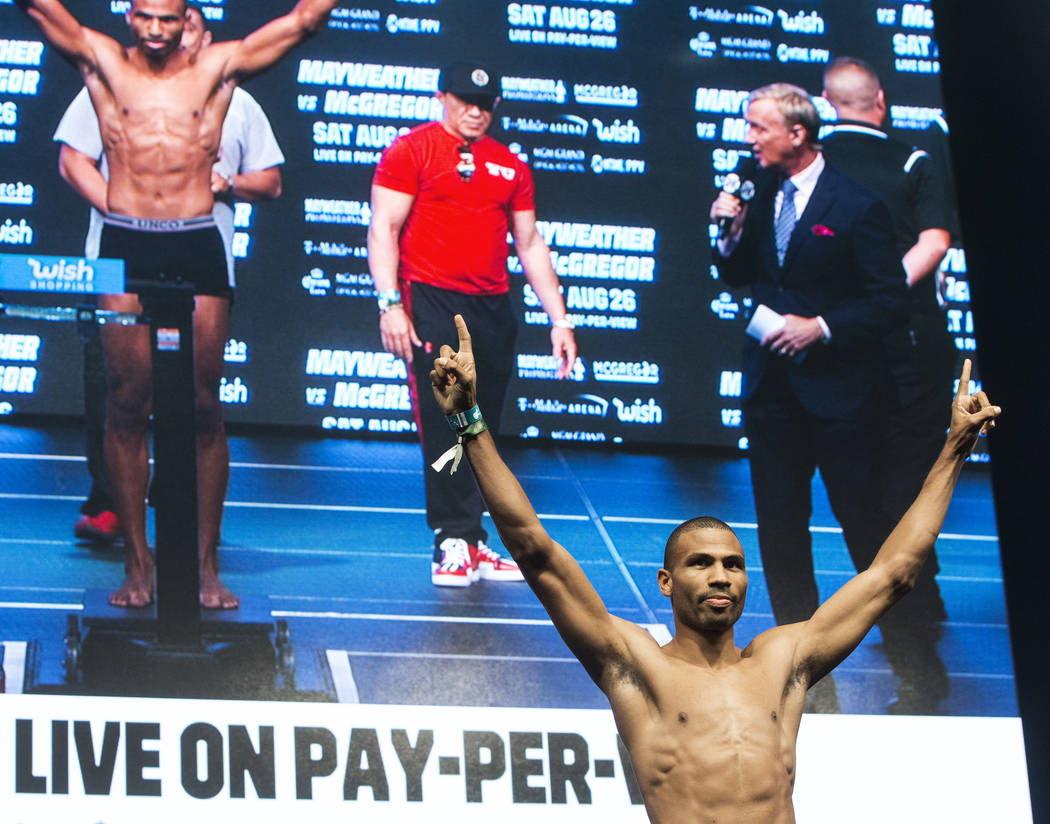 Thomas Dulorme steps on the scale during weigh-ins on Friday, Aug 25, 2017, at T-Mobile Arena, in Las Vegas. Benjamin Hager Las Vegas Review-Journal @benjaminhphoto