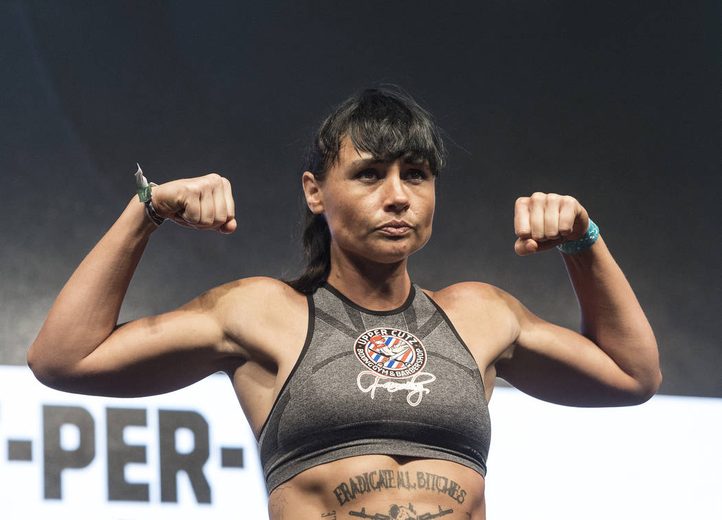 Sydney LeBlanc steps on the scale during weigh-ins on Friday, Aug 25, 2017, at T-Mobile Arena, in Las Vegas. Benjamin Hager Las Vegas Review-Journal @benjaminhphoto