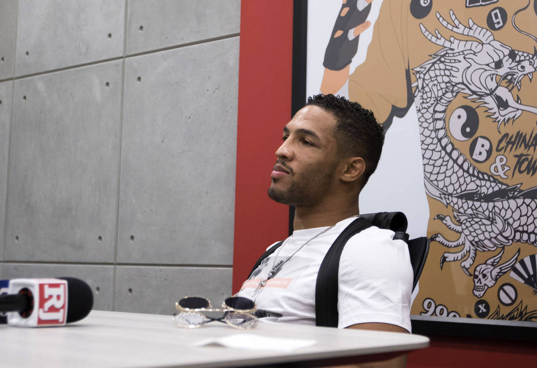 UFC lightweight Kevin Lee listens to media questions during a scrum at the UFC headquarters in Las Vegas on Monday, June 19, 2017. Heidi Fang/Las Vegas Review-Journal @HeidiFang