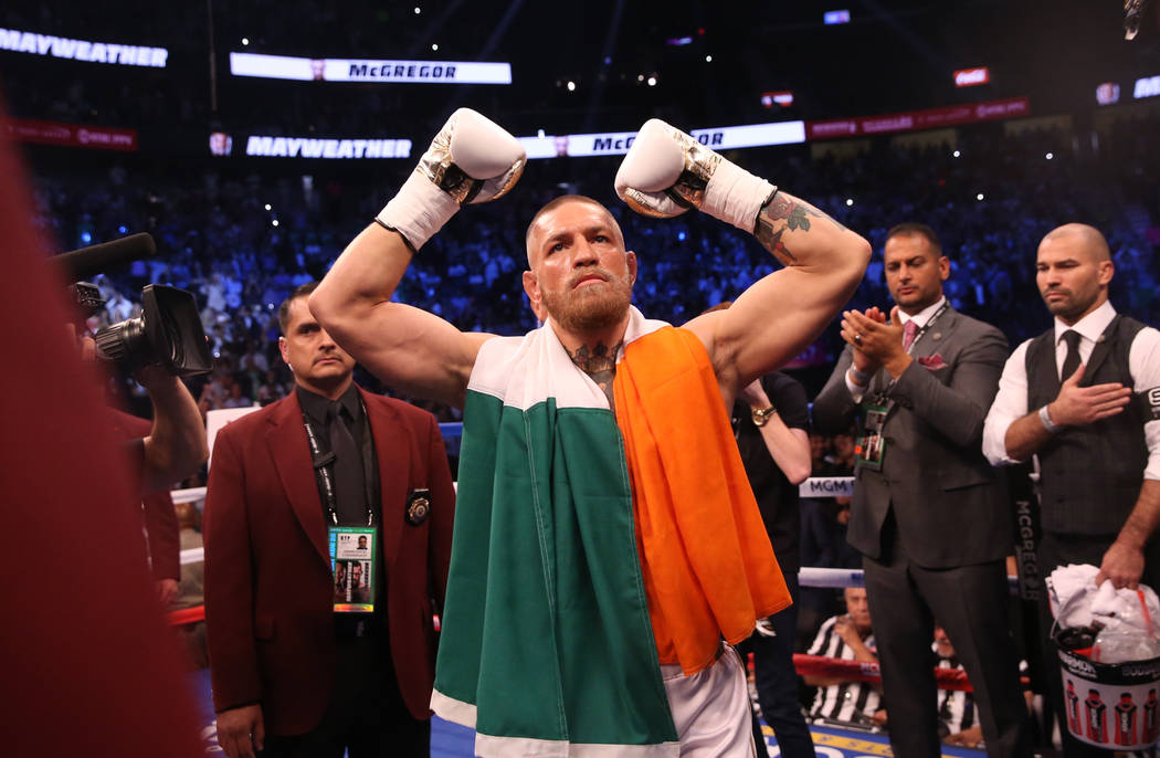 Conor McGregor enters the ring before his fight against Floyd Mayweather Jr. at T-Mobile Arena, Saturday, Aug. 26, 2017, in Las Vegas. Benjamin Hager Las Vegas Review-Journal