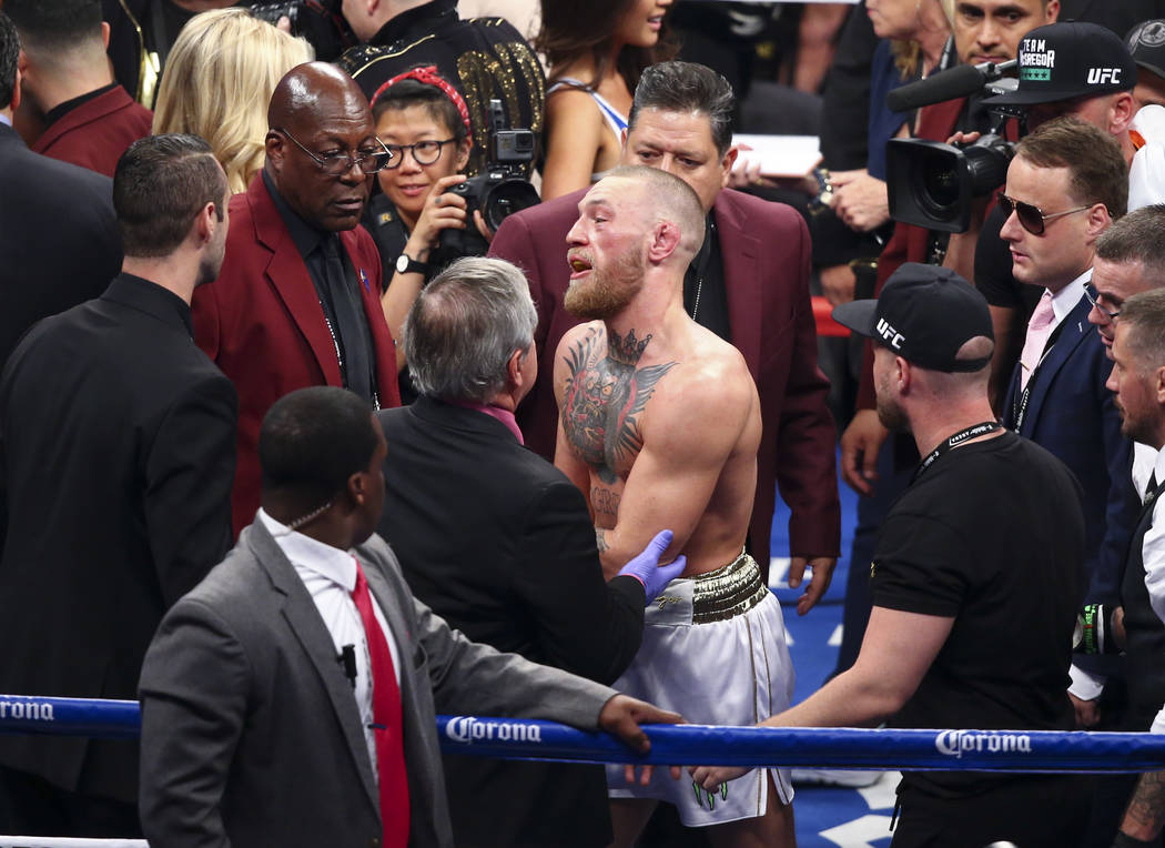 Conor McGregor after being defeated by Floyd Mayweather Jr. in their super welterweight fight at T-Mobile Arena, Saturday, Aug. 26, 2017, in Las Vegas. Mayweather won via 10th round technical knoc ...