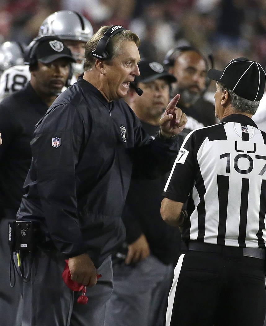 Oakland Raiders head coach Jack Del Rio during an NFL preseason football game against the Arizona Cardinals, Saturday, Aug. 12, 2017, in Glendale, Ariz. (AP Photo/Rick Scuteri)