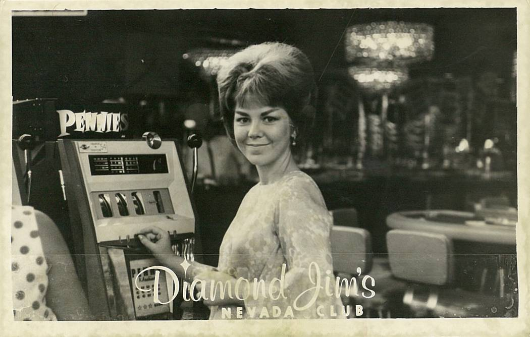 Claudia Reott playing a slot machine on her wedding day.
