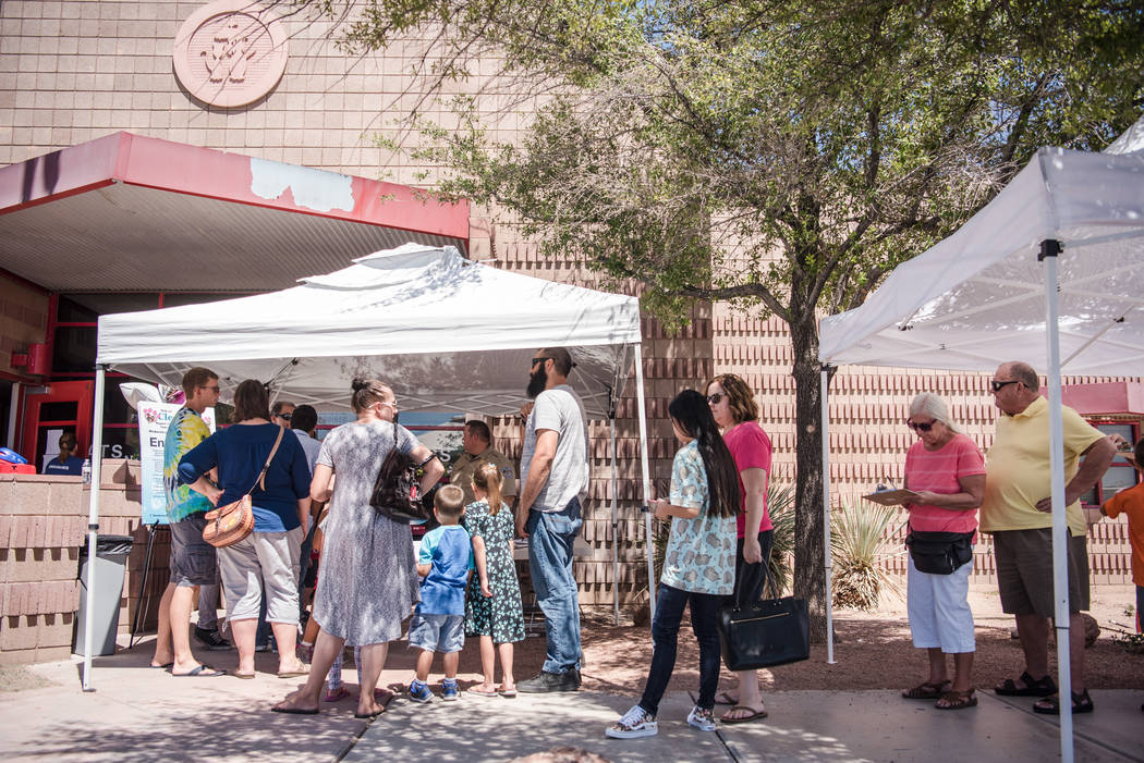 "The growing line of visitors outside Henderson Animal Care and Control Facility during a ""Clear the Shelters"" event on Saturday, Aug. 19. 2017, in Henderson. At the event, animal ..."