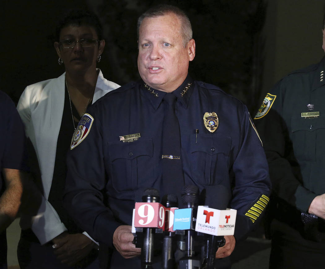 Kissimmee Police Chief Jeff O'Dell speaks to media after two Kissimmee police officers were shot Friday, Aug. 18, 2017, in Kissimmee, Fla. (Stephen M. Dowell/Orlando Sentinel via AP)