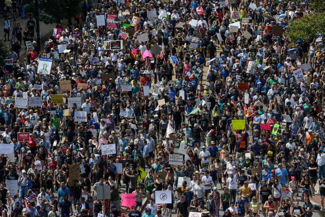 A large crowd of people march towards the Boston Commons to protest the Boston Free Speech Rally in Boston, MA, U.S., August 19, 2017. (Stephanie Keith/Reuters)