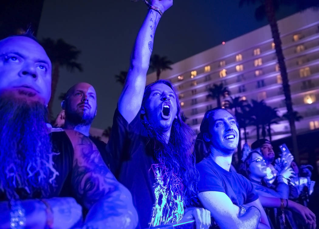 Fans cheer during Young and in the Way's performance at Psycho Las Vegas on Friday, Aug 18, 2017, at the Hard Rock hotel-casino, in Las Vegas. Benjamin Hager Las Vegas Review-Journal @benjaminhphoto