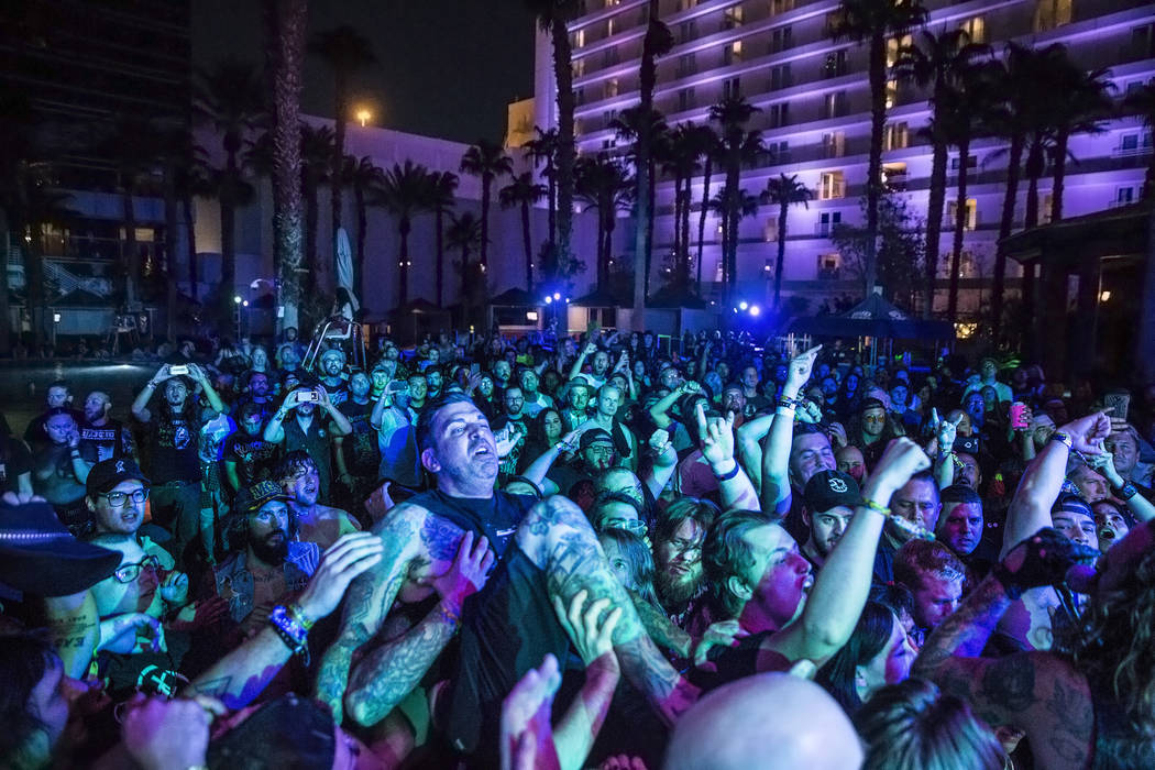 Fans crowd surf during Young and in the Way's performance at Psycho Las Vegas on Friday, Aug 18, 2017, at the Hard Rock hotel-casino, in Las Vegas. Benjamin Hager Las Vegas Review-Journal @benjami ...