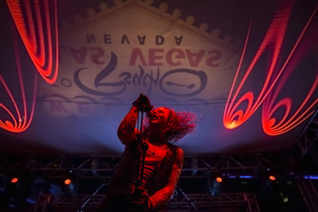 Kable Lyall, frontman for Young and in the Way, performs at Psycho Las Vegas on Friday, Aug 18, 2017, at the Hard Rock hotel-casino, in Las Vegas. Benjamin Hager Las Vegas Review-Journal @benjamin ...