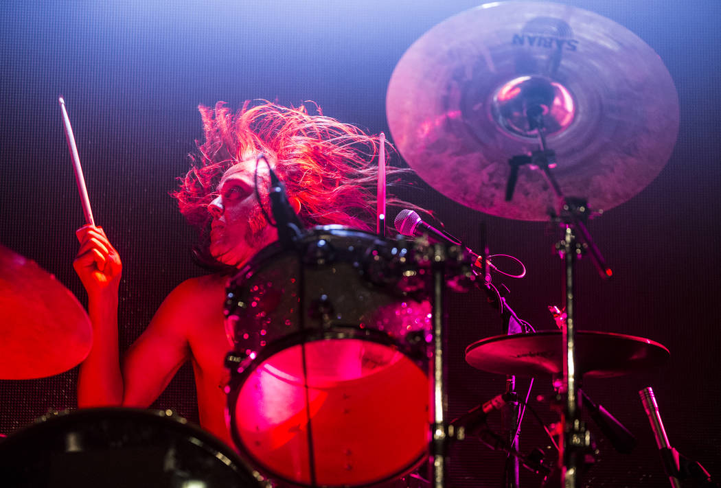Wizard Riffle drummer Sam Ford performs on The Vinyl Stage during Psycho Las Vegas on Sunday, Aug 20, 2017, at the Hard Rock hotel-casino, in Las Vegas. Benjamin Hager Las Vegas Review-Journal @be ...