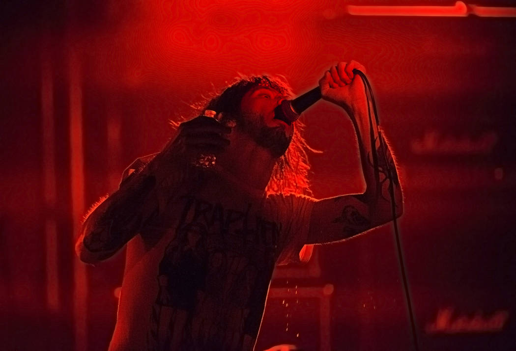 Frontman Anthony Lucero of Salt Lake City metalcore band Cult Leader performs at The Joint during Psycho Las Vegas on Saturday, Aug 19, 2017, at the Hard Rock hotel-casino, in Las Vegas. Benjamin  ...