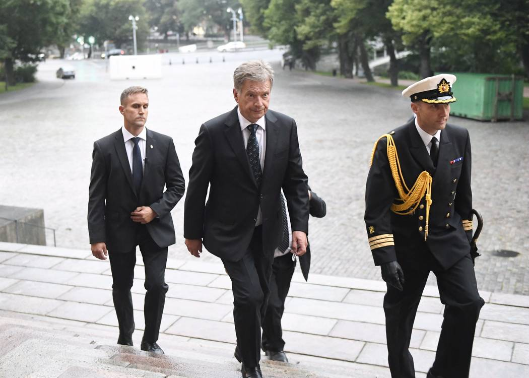 President of Finland Sauli Niinist, centre, arrives for a prayer service for stabbing victims at the Cathedral in Turku, Finland, on Friday evening, Aug. 18, 2017.  Several people were stabbed on  ...