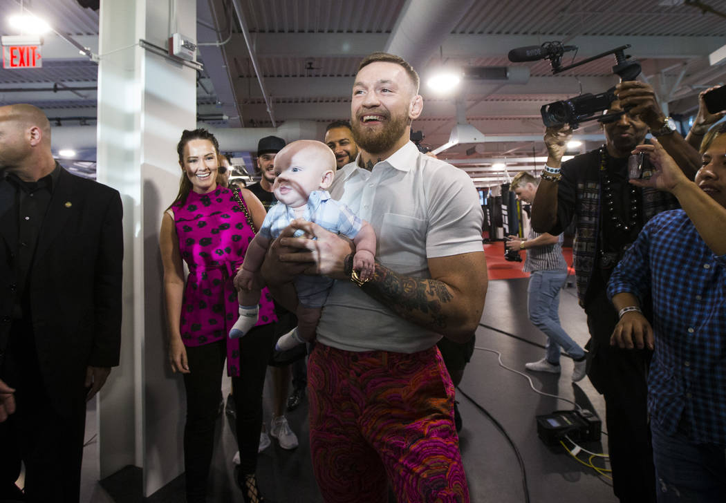 UFC fighter Conor McGregor holds his infant son Conor Jack Mcgregor at the UFC Performance Institute in Las Vegas on Friday, Aug. 11, 2017. Chase Stevens Las Vegas Review-Journal @csstevensphoto