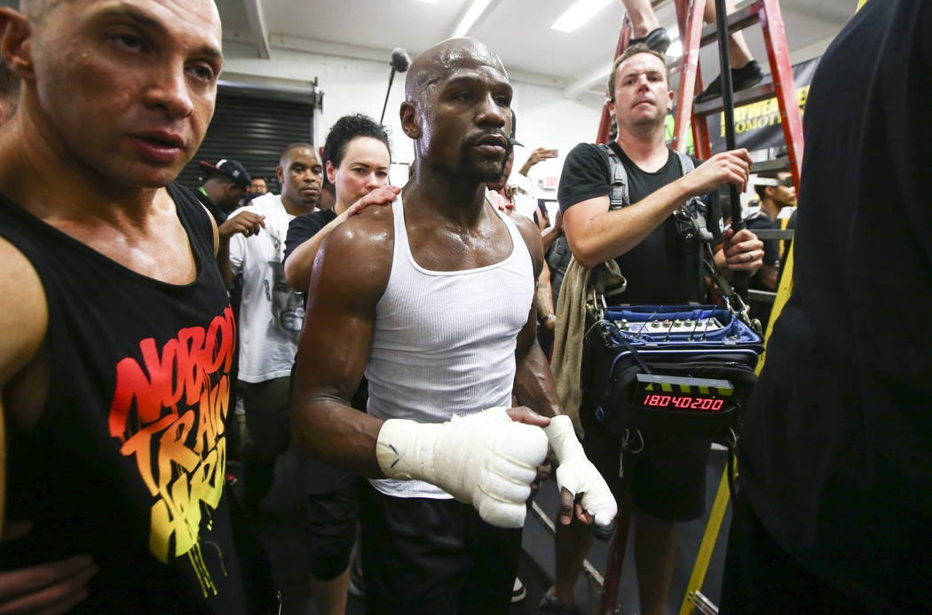 Floyd Mayweather Jr.  works out ahead of his fight against Conor McGregor, slated for Aug. 26, at the Mayweather Boxing Club in Las Vegas on Thursday, Aug. 10, 2017. Chase Stevens Las Vegas Review ...