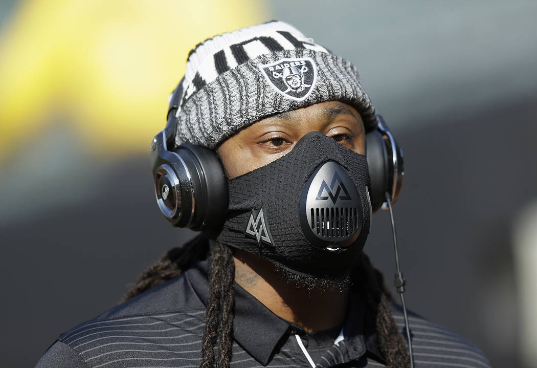 Oakland Raiders running back Marshawn Lynch practices before an NFL preseason football game against the Los Angeles Rams in Oakland, Saturday, Aug. 19, 2017. (AP Photo/Ben Margot)