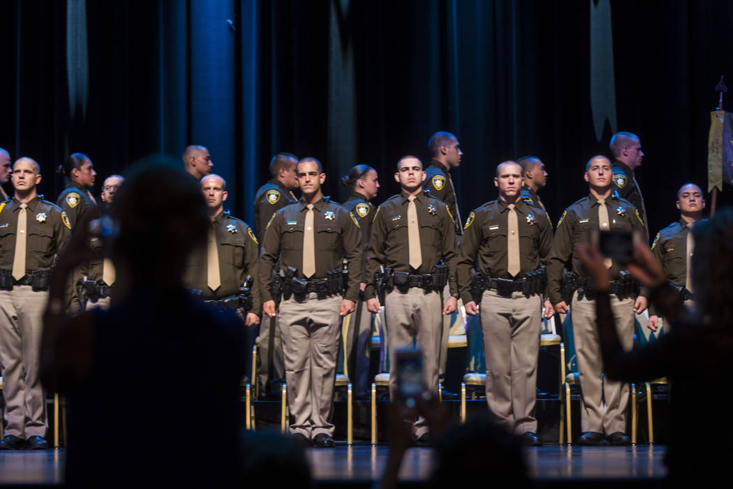 The 2017 graduates of the Metropolitan Police Department complete their graduation ceremony at The Orleans in Las Vegas on Monday, Aug. 21, 2017. Elizabeth Brumley Las Vegas Review-Journal