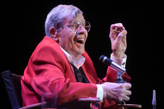Jerry Lewis performs during the final show of his run at the South Point, Sunday, Oct. 2, 2016, in Las Vegas. Sam Morris/Las Vegas News Bureau