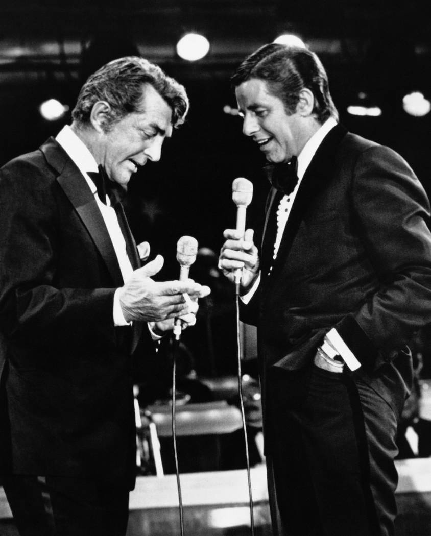 Dan Martin, left, and Jerry Lewis, whose comedy team broke up more than 20 years ago, appear together for the first time since the breakup on Lewis annual telethon for Muscular Dystrophy, Sept. 7, ...