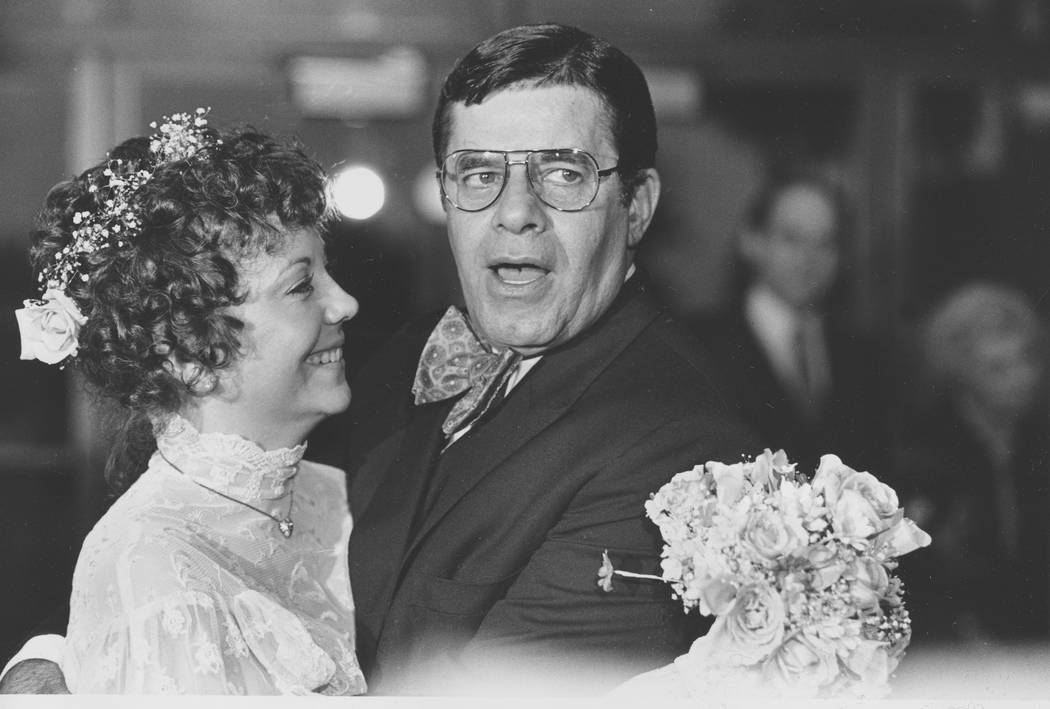 "Comedian Jerry Lewis and his new bride, SanDee, are shown minutes after they were married in Key Biscayne, Fla., Sunday night, Feb. 13, 1983. Lewis married 32-year-old SanDee ""Sam"" Pitnick of Wins ..."