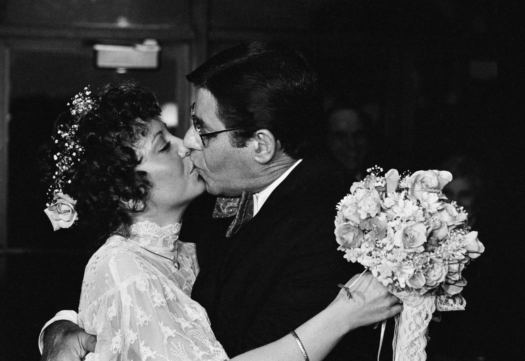 Newlyweds Comedian Jerry Lewis married 32-year-old SanDee Pitnick, a Las Vegas dancer, in a small private ceremony on Sunday, Feb. 13, 1983 in Key Biscayne, Fla. (Doug Jennings/AP)