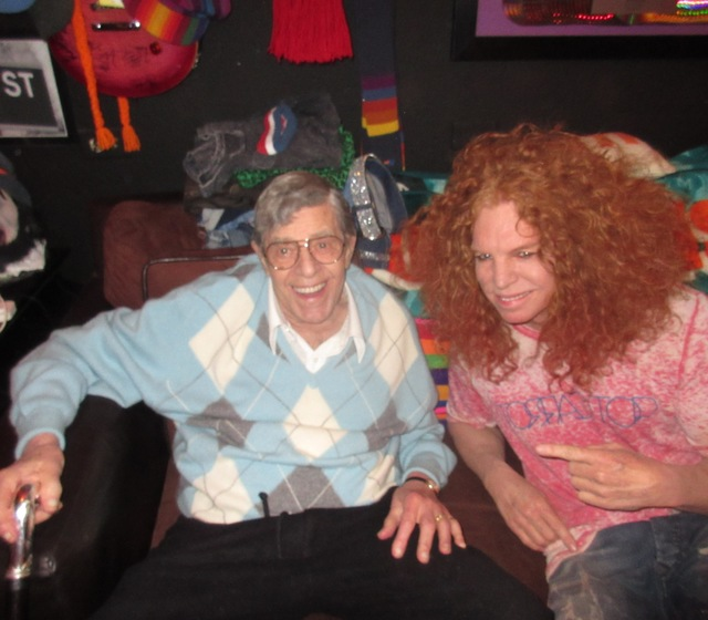 Jerry Lewis and Carrot Top are shown backstage at the Luxor's Atrium Theater on Thursday night. (Courtesy)