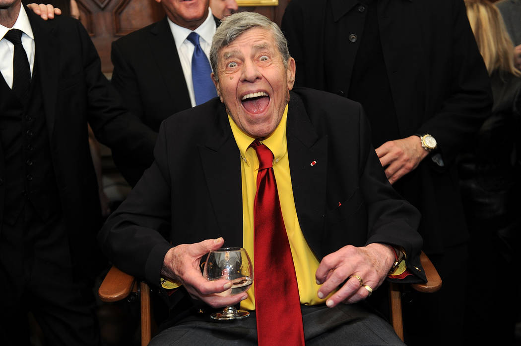 Jerry Lewis interacts with the press at the Friars Club before his 90th birthday celebration on Friday, April 8, 2016, in New York. (Brad Barket/Invision/AP)