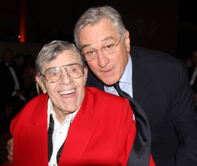 Jerry Lewis is shown with Robert DeNiro during an event at the Friar's Club in New York honoring Martin Scorsese on Wednesday night.